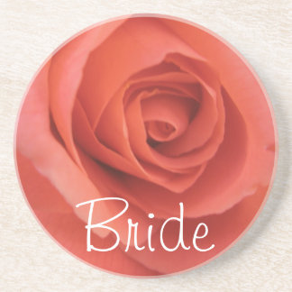 Peachy Wedding Rose Sandstone Coaster