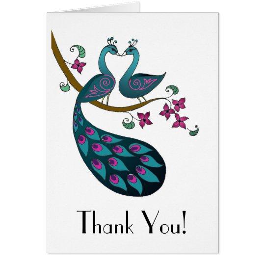Peacock -1 Thank You folded card