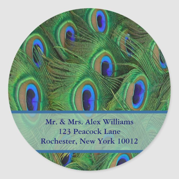Peacock Address or Save the Date Label Round Sticker