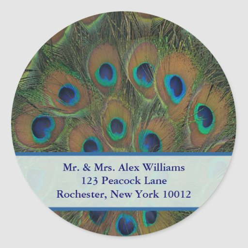 Peacock Address or Save the Date Label Round Stickers