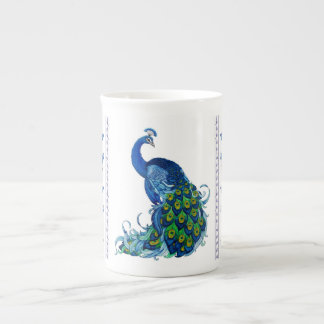 Peacock and Dragonfly Design Tea Cup
