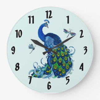 Peacock and Dragonfly Round Clock Design