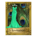 Peacock and Gold Green Any Party Custom Invites