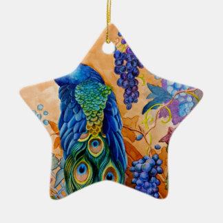 Peacock and Grapes Ceramic Ornament