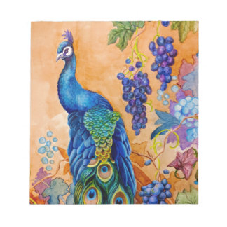 Peacock and Grapes Notepad