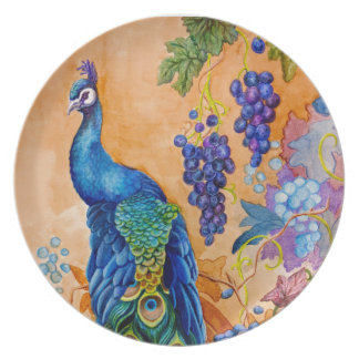 Peacock and Grapes Plate