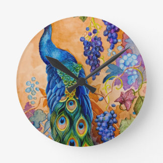 Peacock and Grapes Round Clock