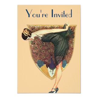 Peacock and Lady 13 Cm X 18 Cm Invitation Card