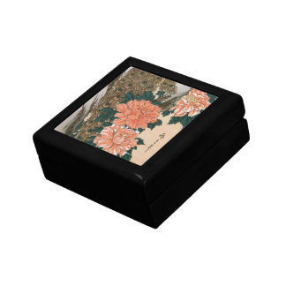Peacock and Peonies by Hiroshige, Japanese Art Small Square Gift Box