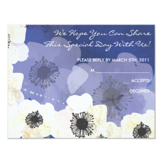 Peacock & Anemone Flowers Bat Mitzvah REPLY CARD