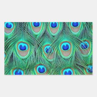 peacock animal print - feathers rectangular sticker