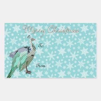 Peacock Art Christmas Present Sticker