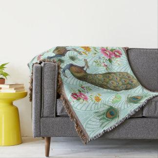 Peacock Art Deco Throw Blanket