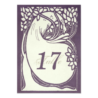 Peacock art deco violet and ivory Table Number 11 Cm X 16 Cm Invitation Card