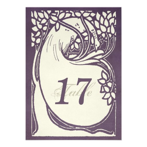 Peacock art deco violet and ivory Table Number Personalized Invitations