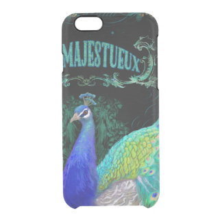 Peacock Art Vintage Style Scroll Typography Black Clear iPhone 6/6S Case