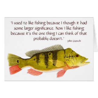 Peacock Bass card with quote on Fishing