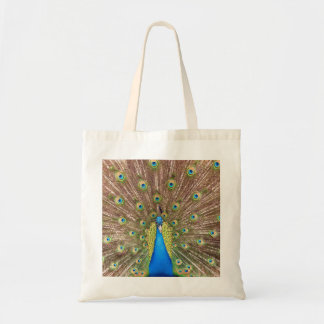 Peacock bird blue feather beautiful photo tote bag