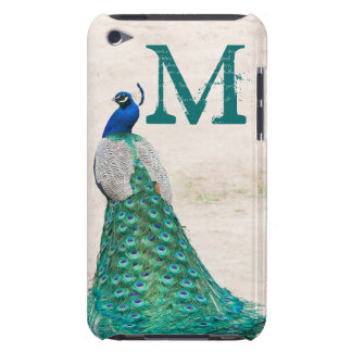 Peacock Bird Feather Monogram Initial IPOD Touch Barely There iPod Cases
