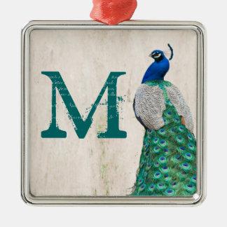 Peacock Bird Feather Tea Monogram Initial Ornament