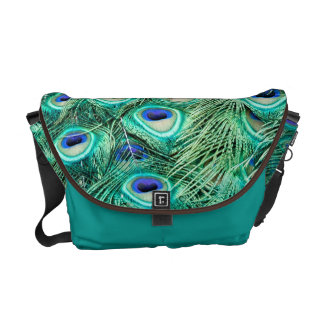 Peacock Bird Feather Teal Turquoise Bag Tote Purse Messenger Bag