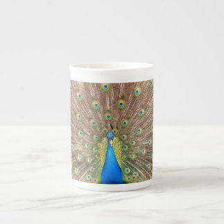 Peacock bird feathers beautiful bone china mug
