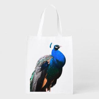 peacock bird reusable grocery bag