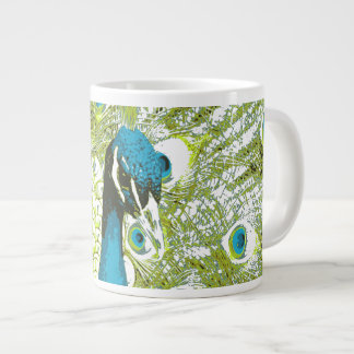 Peacock Blue and Green Giant Coffee Mug