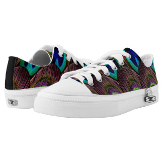 Peacock blue and purple feathers low tops