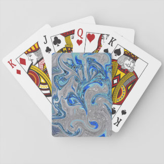Peacock Blue and Silver Marbled Abstract Poker Deck