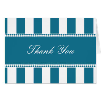 Peacock Blue and White Cafe Stripes Thank You Note Card