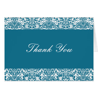 Peacock Blue and White Damask Thank You Note Card