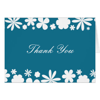 Peacock Blue and White Flower Power Thank You Note Note Card