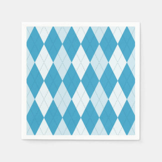 Peacock Blue Argyle Small Diamond Shape Disposable Napkins