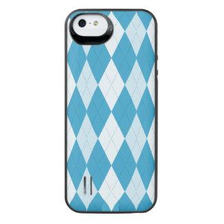 Peacock Blue Argyle Small Diamond Shape iPhone SE/5/5s Battery Case