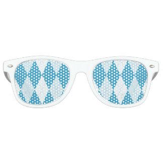 Peacock Blue Argyle Small Diamond Shape Retro Sunglasses