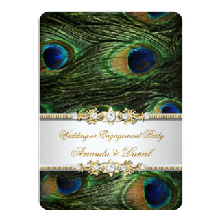 """Peacock Blue Green Gold Wedding or Engagement 4.5"""" X 6.25"""" Invitation Card"""