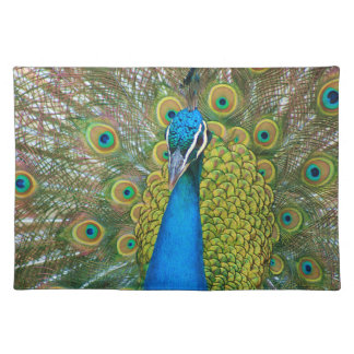 Peacock Blue Head with and Colorful Tail Feathers Placemat