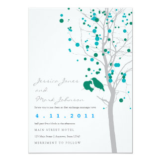 Peacock Blue Love Birds in Tree with Gray Leaves 13 Cm X 18 Cm Invitation Card