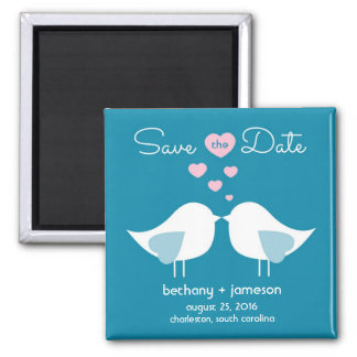 Peacock Blue Love Birds Save the Date Magnet