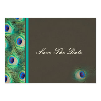 peacock blue mocha  teal Save the date 13 Cm X 18 Cm Invitation Card