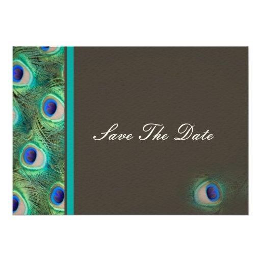 peacock blue mocha  teal Save the date Custom Announcement