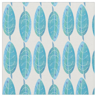 Peacock blue modern watercolor leaf design fabric