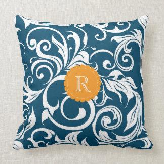 Peacock Blue Orange Floral Wallpaper Monogram Cushion