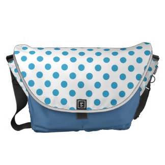 Peacock Blue Polka Dots Circles Messenger Bag
