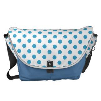 Peacock Blue Polka Dots Circles Messenger Bags