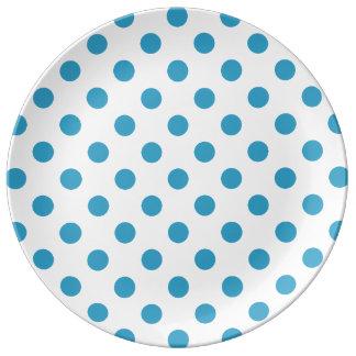 Peacock Blue Polka Dots Circles Porcelain Plates