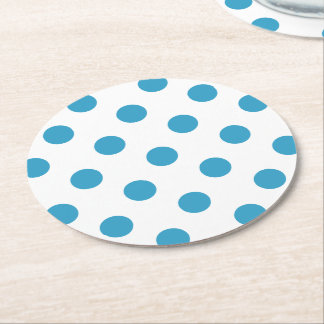 Peacock Blue Polka Dots Circles Round Paper Coaster