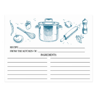 Peacock Blue Sketched Kitchen Tools Recipe Cards Postcard