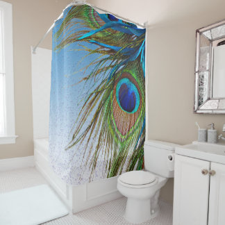 Peacock Blue Sky Shower Curtain